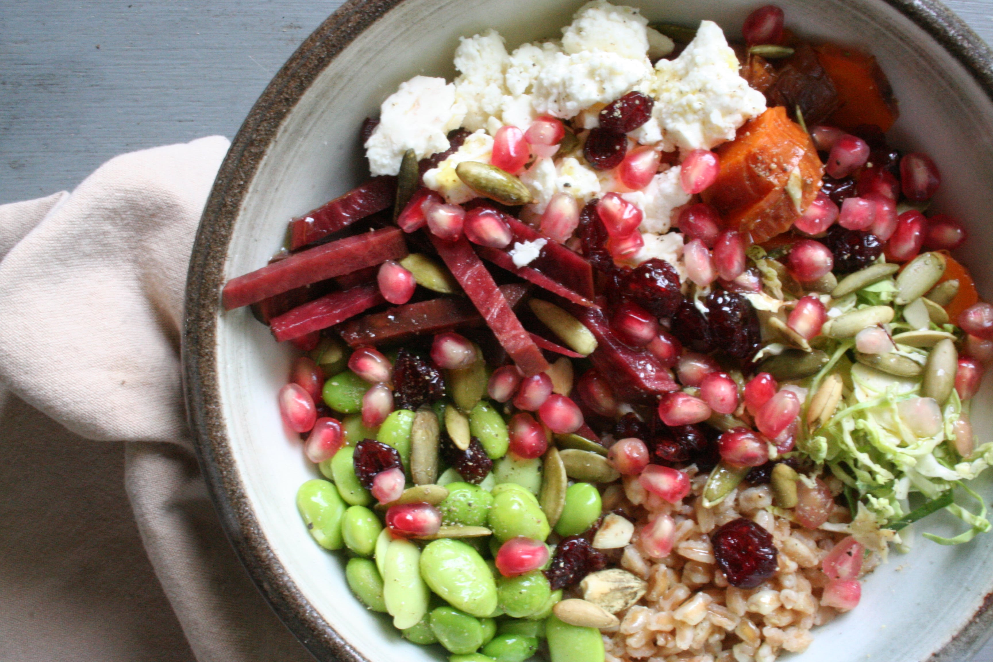 Plant-powered lunch bowl: farro, shaved brussels sprouts, and fermented beets