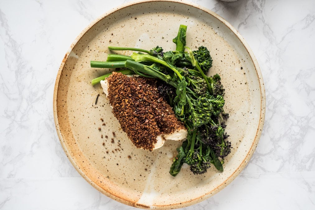 Sunflower crusted cod